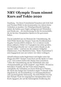 HH ABENDBLATT - NRV Olympic Team nimmt Kurs auf Tokio 2020 - 26.10.16